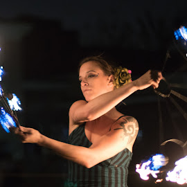 Playing with Fire - 2 by Swin Spivey - People Street & Candids ( lighting, night photography, entertainer, fire, street photography, event photography )