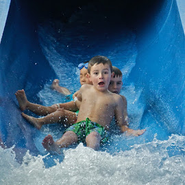 About To Hit The Wall by Bryan Lowcay - Babies & Children Children Candids ( water, fears, water slide, summer, kids, KidsOfSummer )