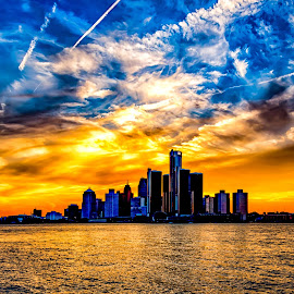 Detroit Skyline from Canada by Carol Ward - City,  Street & Park  Skylines ( detroit river, michigan, skyline, sunset, night time, detroit, nightscape )