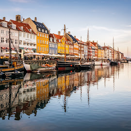 Nyhavn-Copenhagen by Gabriela Ciobanu - City,  Street & Park  Street Scenes ( copenhagen, tourist, ship, 2015, nyhavn, reflections, denmark, attraction )