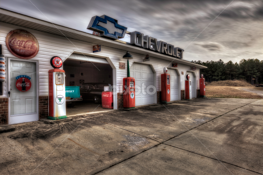 Sanford Station (HDR) by Cody Miller - Buildings & Architecture Other Exteriors ( clouds, shop, parking lot, hdr, station, driveway, garage, door, pump, coca-cola, chevy, concrete, gas, grunge, sky, coke, chevrolet,  )