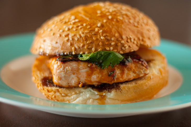 Sesame Salmon Burger with Apricot Soy Sauce Glaze Recipe | Yummly