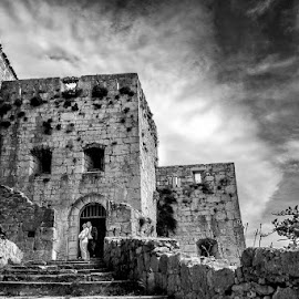 by Zeljko Marcina - Wedding Bride & Groom ( love, b/w, old, black and white, fortress, wedding, croatia, split, bride, groom )