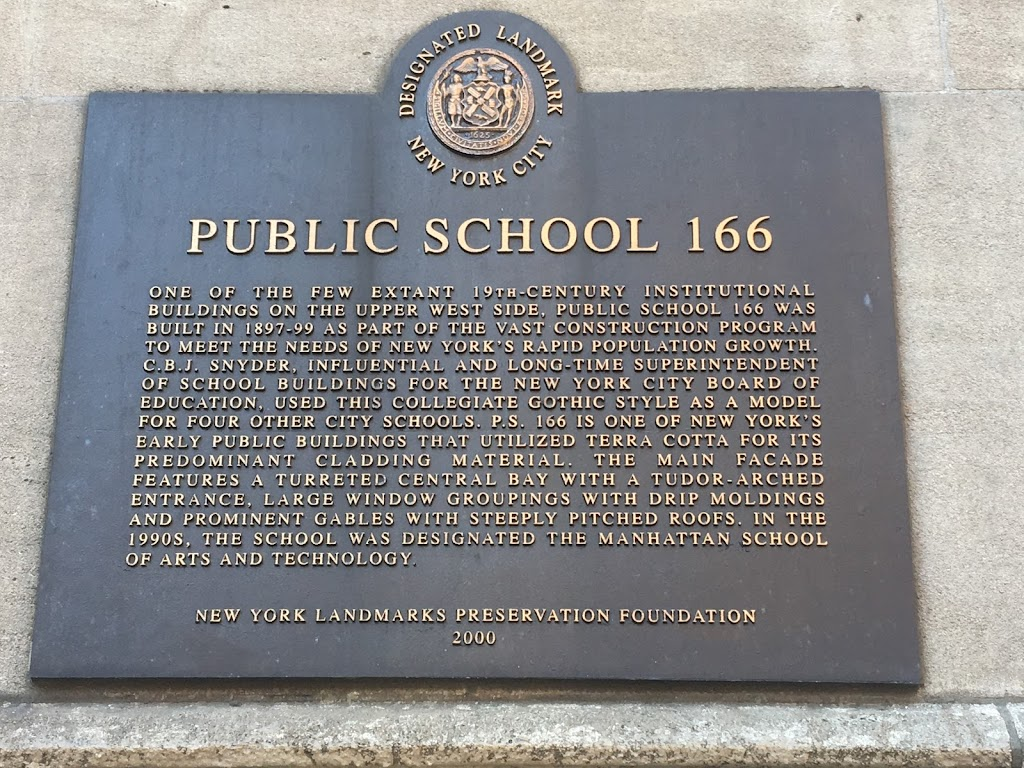 PUBLIC SCHOOL 166 ONE OF THE FEW EXTANT 19TH-CENTURY INSTITUTIONAL BUILDINGS ON THE UPPER WEST SIDE. PUBLIC SCHOOL 166 WAS BUILT IN 1897-99 AS PART OF THE VAST CONSTRUCTION PROGRAM TO MEET THE NEEDS ...