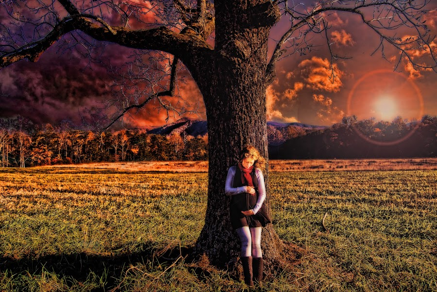 The Fire of a Mother's Love by Bobbie Clark - People Fine Art ( maternity, sky, fine art, landscape, people )