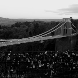Love at Clifton by DJ Cockburn - Black & White Buildings & Architecture ( civil engineering, monochrome, black and white, river avon, clifton down, architecture, road, clifton, leigh woods, padlock, love, grayscale, fence, england, somerset, avon gorge, b3129, clifton suspension bridge, victorian, bristol )
