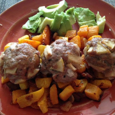 Apple Thyme Turkey Meatballs with Bacon Roasted Butternut