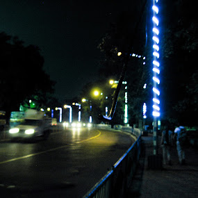 The rush by Hrijul Dey - City,  Street & Park  Street Scenes ( car, neon, street, night, lights, speed )