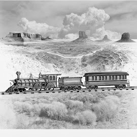 GREAT AMERICAN RAILROADS DRAWING by Gerry Slabaugh - Drawing All Drawing ( monument valley, desert, locomotive, railroad, train, oldwest )