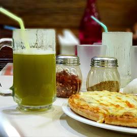 Evening Energy by Amit Naskar - Food & Drink Eating ( pizza, cane juice, snacks )