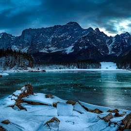 laghi di fusine by Miroslav Asanin - Landscapes Mountains & Hills ( clouds, mountain, beautiful, white, lake, forest, landscape, frozen, canon eos, hiking, panorama, exploration, adventure, winter, nature, cold, ice, outdoor, snow, cloudy, view, italy,  )
