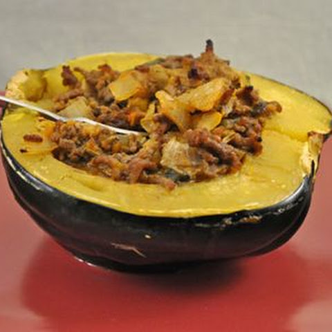 Acorn Squash Stuffed with Sausage and Tomatoes