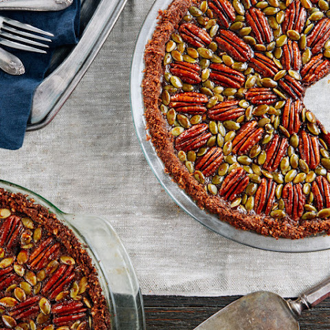 Chocolate, Pecan, and Pumpkin Seed Pie With Gingersnap Crust