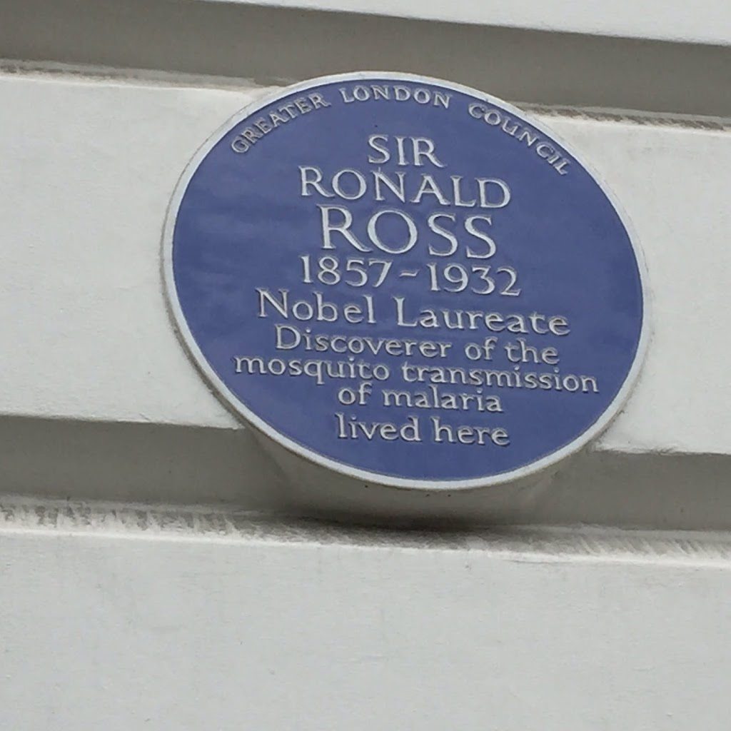 SIR RONALD ROSS1857 - 1932Nobel LaureateDiscoverer of themosquito transmissionof malarialived here Submitted by@kivacreative