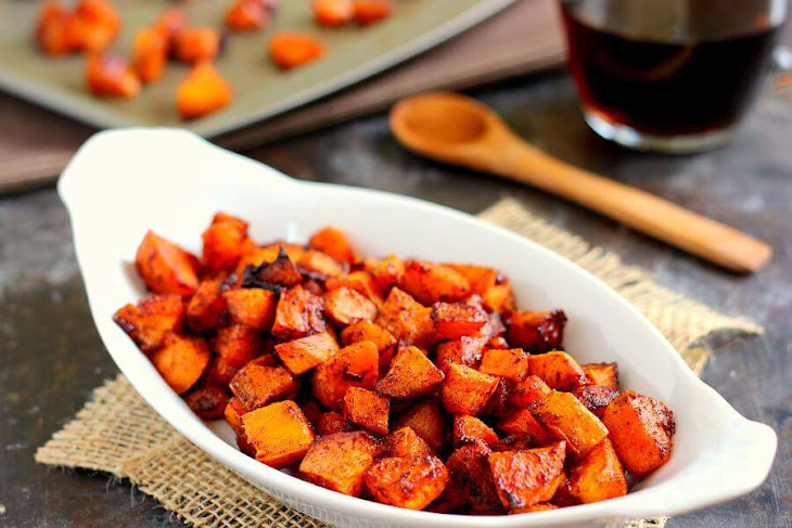 Roasted Maple Cinnamon Sweet Potatoes Recipe | Yummly