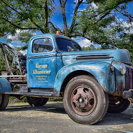 Breakdown Lorry by Marco Bertamé - Transportation Automobiles ( vintage, blue, oldtimer, ford, breakdown lorry )