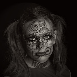 Dark Play by Chris O'Brien - People Portraits of Women ( cosplay, b&w, woman, dark, beauty )