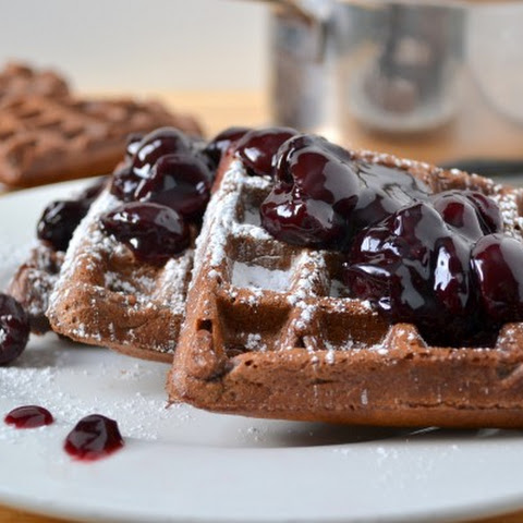 Chocolate Cherry Waffles
