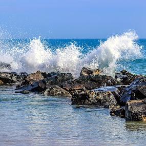 Crashing Rocks by Rob King - Landscapes Beaches ( water, reflection, waves, sea, ocean, roacks, beach, crash )