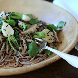 Maple-Glazed Hakurei Turnip and Shiitake on Soba Noodles