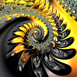 Gilt by Amanda Moore - Illustration Abstract & Patterns ( spirals, digital art, fractal art, spiral, fractal, digital, fractals )