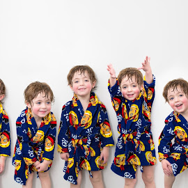 Robes by Mike DeMicco - Babies & Children Children Candids ( pajamas, playing, robes, silly, pj's, little, fun, handsome, cute, boy, multiple )