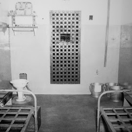 Eastern State Penitentiary 3 by Amber Thomas - Buildings & Architecture Public & Historical ( prison, black and white, dark, depressing, prison cell )
