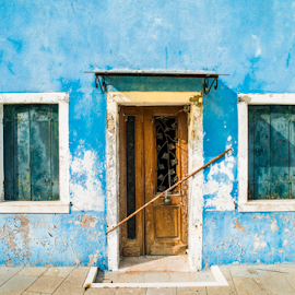Bright blue color house in Venice by Deyan Georgiev - Landscapes Travel ( old, reflection, italian, europe, exterior, colorful, bright, street, house, architecture, travel, landscape, venetian, city, multicolored, island, sunny, mediterranean, veneto, italy, water, building, adriatic, houses, beautiful, burano, tourism, boat, canal, venezia, urban, landmark, european, red, vacation, color, blue, outdoor, venice, summer, view, town, channel )
