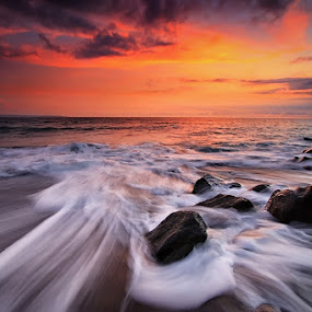 Seseh in motion by Krishna Mahaputra - Landscapes Sunsets & Sunrises ( water, sunset, beach, landscape )
