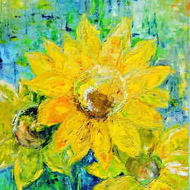 Sunflowers by Amas Art - Painting All Painting ( sunflower, summer, yellow, pinting, flower, oil )