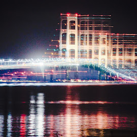 Mackinaw Bridge by Leah Slosberg - Abstract Light Painting