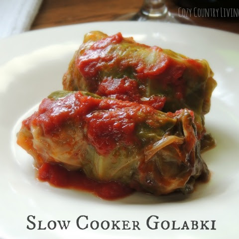 Slow Cooker Golabki {Stuffed Cabbage}