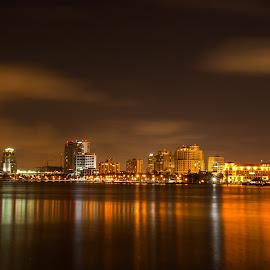 Rivera Beach FL by Carl Albro - City,  Street & Park  Night ( skyline, night time, night, city )