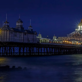 Pier Of The Realm by Corin Spinks - Buildings & Architecture Bridges & Suspended Structures ( water, building, blue hour, sea, seaside, architecture, coast, lights, eastbourne pier, sussex, pier, night, eastbourne,  )