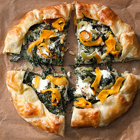 Corsican Greens Pie with Butternut Squash and Three Cheeses