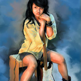 Girl and Guitar by Surya Hidayat HB - Digital Art People