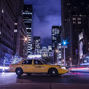 NYC taxi by Massimo Izzo - City,  Street & Park  Street Scenes ( lights, taxi, manhattan, nyc, city )