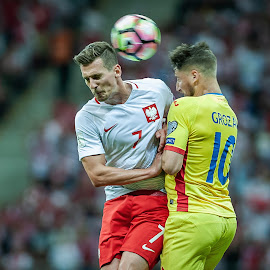 Poland vs. Romania by Paweł Mielko - Sports & Fitness Soccer/Association football ( soccer, ball, milik, sports, poland, romania, football, sport photography, sport )