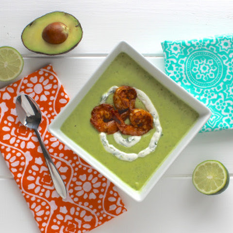 Chilled Avocado Soup with Chipotle Shrimp
