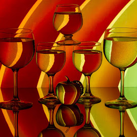 Red by Lisa Hendrix - Artistic Objects Other Objects ( orange, reflection, red, brandy glass, apple, green, artistic, yellow, wine glasses, curves )