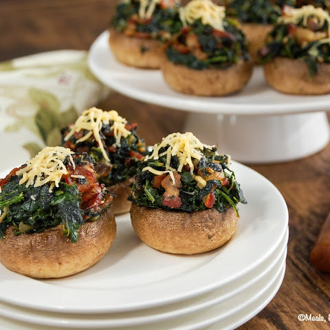 Gouda, Bacon and Spinach Stuffed Mushrooms