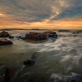Gulf Sunset by Richard Kam - Landscapes Sunsets & Sunrises ( sky, sunset, gulf, cloud, sea, long exposure, ocean, rocks )