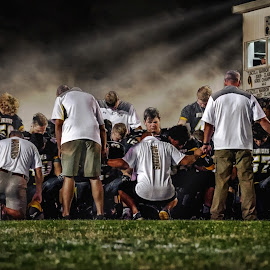 Post-Game Huddle by T Sco - Digital Art People ( press, ball, sports, sport, win, game, team, press box, field, thanks, football, unity, pray, light, huddle )