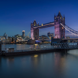 BLUE  by Selaru Ovidiu - City,  Street & Park  Skylines ( london, blue hour, tower bridge, cityscape )