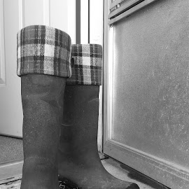 Muckers by Jennifer Ablicki - Artistic Objects Clothing & Accessories ( mud, pair, plaid, door, boots )