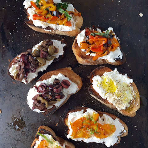 Ricotta Bruschetta with Olives, Peppers & Tomatoes