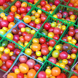 Baskets and Baskets and Baskets of Tiny Tomatoes Arranged at a Farmer's Market by Eric Michaels - Food & Drink Fruits & Vegetables ( tiny, orange, arrangement, red, multi-colored, afternoon, farmer's market, sunny, green, yellow, baskets, tomatoes )