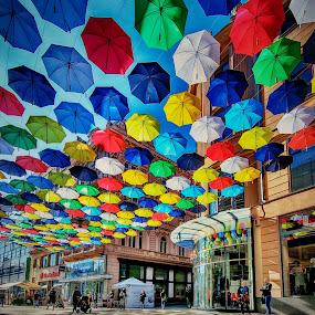 Under Rainbow from umbrelas by Jiri Cetkovsky - City,  Street & Park  Street Scenes ( color, street, umbrella, rainbow )