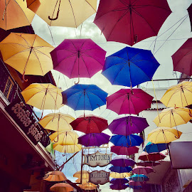 Colourful Laneway - Siem Reap by Di Mc - Instagram & Mobile iPhone ( colour, laneway, umbrella, pink, yellow, cambodia, siem reap )