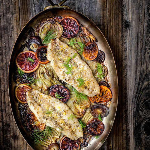 Baked Rockfish With Fennel And Blood Oranges